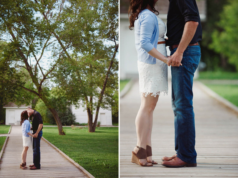 Engaged couple on wooden path at John Walter Museum photography