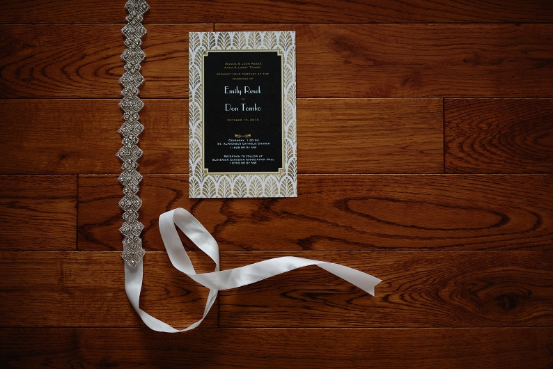 wedding invitation and beaded belt