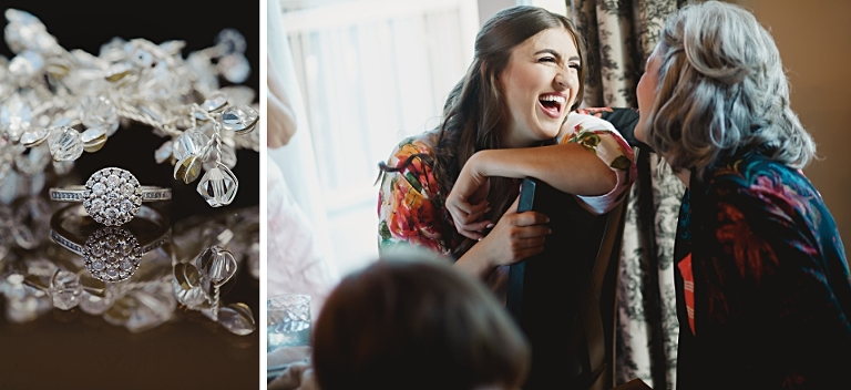 An Edmonton bride candidly laughs with her mom prior to her wedding photographed by Edmonton wedding photographers.